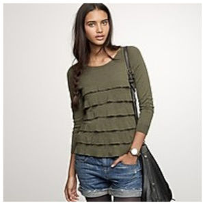 J Crew Green Tiered Popover Sweater Size Large NWT